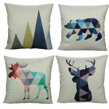 """Pillow Covers Cases Set of 4 18"""" x 18"""" Geometric Animals Shabby Chic Farmhouse"""