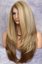 Full Lace Front Wig Long Body Straight Blonde Brown Mix Layered 2216 Hairpeice