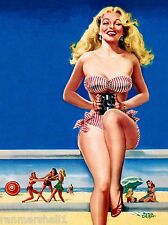1940s Pin-Up Girl The Seashore Beach Ocean Picture Poster Print Vintage Pin Up