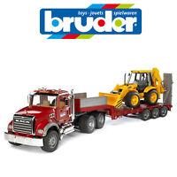 BRUDER 1:16 MACK LOW LOADER TRAILER TRUCK + JCB BACKHOE DIGGER SAND TOY 02813
