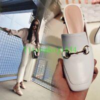 Hot Womens Pearl Stud Loafer Mid Low Heel Pumps Backless Slide Mule NEW
