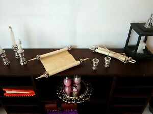 Miniature Parchment Scrolls set of 2, Old Paper Manuscripts Jewish Dollhouse