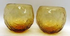 Lido Milano Vintage Anchor Hocking Set of 2 Roly Poly Round 8oz Amber Glasses