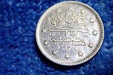 OTTOMAN TURKEY:  SILVER 2 KURUSH 1327-2 (1910) EXTREMELY FINE (MOHAMMED V)