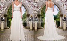 Custom White/Ivory Open Back Chiffon Beach Wedding Dress Bridal Gown Party Ball