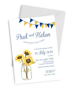 Personalised SUNFLOWERS WEDDING Invites Pack of 10 with envelopes A6