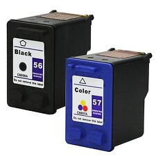 2PKs HP 56 57 Black & Color Ink Cartridge C6656AN C6657AN Combo Pack