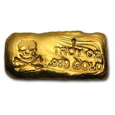1 oz Gold Skull & Bones Bar - Hand Poured Gold Bar - SKU #78563