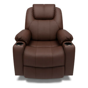 Sofa Chair Multifunctional Recliner Leather Footrest Theater Brown Massage Chair