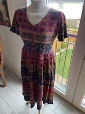 Vintage 80?S Rot Blumen Sommer New Wave Tee Kleid UK 8/10 Klein