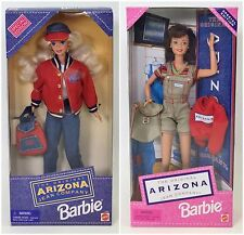 LOT OF 2 ARIZONA JEAN BARBIES 1995 JEANS 1997 SHORT OVERALLS NRFB