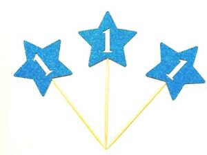 12 x Birthday Boy First (1st) Birthday Stars With Age Cup Cake Topper, Picks