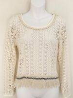 Anthropologie AKEMI KIN Womens Top Sweater Size S Ivory Fringe Hem Open Knit