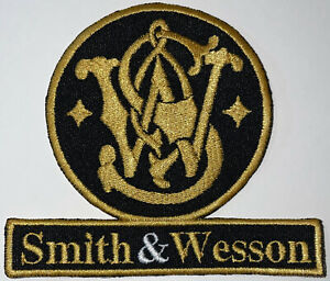 SMITH & WESSON Black Firearms Gun Rifle Pistol Logo Patch Sew-On Repro New A513
