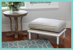 *In stock now!* NEW Hamptons Style Bobbin Ottoman footstool white birch frame