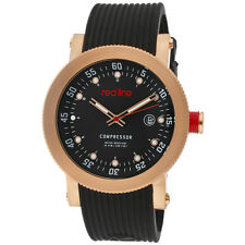 NEW Red Line RL-18000-RG-01 Mens Compressor Black Dial Gold Silicone Watch Date