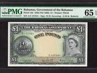 Bahamas:P-15d,1 Pound,1953 * QEII * PMG Gem UNC 65 EPQ !! *