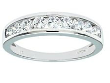 9ct white gold half eternity created diamond ring size K free postage gift boxed