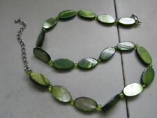 """Green Oval Shell Bead Necklace - 18-20"""" long"""