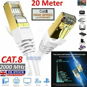 IMBTECH CAT8 RJ45 Ethernet Network SSTP 40 Gbps Patch Lead Cord 20M White Cable