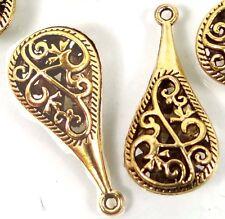 30mm Antique Gold Pewter Pipa Teardrop Filigree Charm Pendant (8)