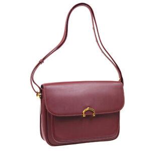 CARTIER Must De Cartier Cross Body Shoulder Bag Purse Bordeaux Leather 41033