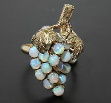 ANTIQUE SOLID 14K YELLOW GOLD OPAL GRAPE CLUSTER RING sz 5 / 5 g