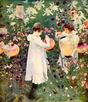 JOHN SARGENT 1886 Oil Painting CARNATION LILY, LILY ROSE Vintage 1930 Book Print