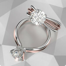 Luxury Women 18K Rose Gold Filled &10KT White Gold Filled White Sapphire Ring