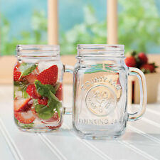 SET OF 10 - 16 OZ COUNTY FAIR  DRINKING MASON JAR GLASS W/HANDLE LIBBEY 97085
