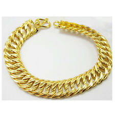 Men's Classic 22K 23K 24K THAI BAHT YELLOW Gold Plated  Bracelet 7.5 inch 17 mm