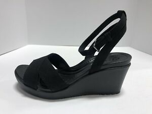 Crocs Leigh II Crossstrap Ankle Wedge Sandals, Black, Wo's Size 9M