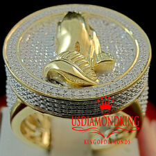 Mens Real Genuine Diamond Praying Hands Pinky Ring Band 10K Yellow Gold Finish