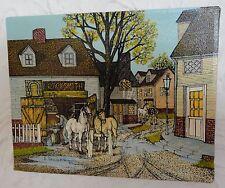 "8"" x 10"" H Hargrove Oil Serigraph Country Scene BLACKSMITH Horses Horse Shoeing"