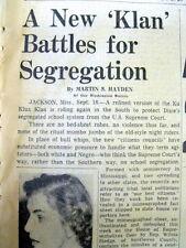 1954 newspaper KU KLUX KLAN resurfaces in Civil Rights era JACKSON Mississippi