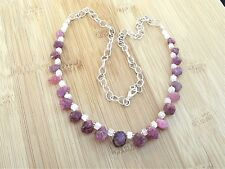 "Rainbow Moonstone & Pink Sapphire Semi Precious Gemstone 22"" Handmade Necklace"