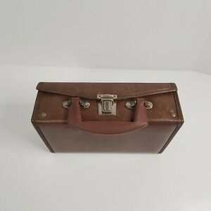 Faux Leather 12 Cassette Tape Briefcase Suitcase Tan Retro Vintage