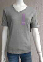 Jones New York V-neck T Shirt Knit Top Rolled Cuff Short Sleeve Grey Size Small