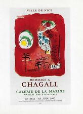 """MARC CHAGALL POSTER ART (PRINT) EXHIBIT """"HOMAGE TO CHAGALL""""  NICE FRANCE 1967"""