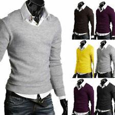 Men V-Neck Slim Fitness Sweatshirt Sweater Jumper Pullover T-Shirt Plain Tops US