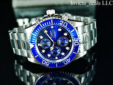 Invicta Men's 43mm Pro Diver SKY PIERCER Chronograph BLUE Dial Silver Tone Watch
