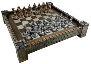 """Medieval Times Knight PEWTER METAL CHESS Set Antique Finish W CASTLE BOARD 17"""""""