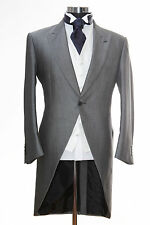 "MENS SILVER GREY ASCOT TAIL 34"" SIZE XTRA SMALL TAILCOAT EX HIRE WEDDING JACKET."