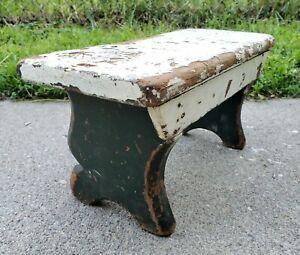 Antique AAFA Christmas Cricket Bench Foot Stool Rest Step Milk Stool Primitive
