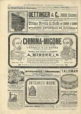 Stampa antica pubblicità ACQUA CHININA - MIGONE e altri 1894 Old antique print