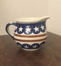 New Boleslawiec Polish Pottery Stars & Stripes Creamer T3 Great Condition (A)