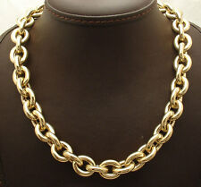 "18"" 12mm Wide All Shiny Oval Link Chain Necklace Real 14K Yellow Gold QVC 43.2gr"