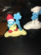 Smurf Figure Cake Toppers, Lot of 3
