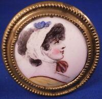 Antique 18tC Staffordshire Bilston Battersea Enamel Lady Portrait Tieback Plaque