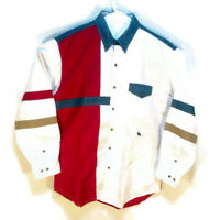 US Western Shirt Mens Size L Large Red White & Blue Colorblock Button Front LS